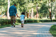canvas print picture - back view of curly kid holding hands with african american father and walking in park