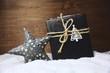 canvas print picture - Weihnachtsgrußkarte - Geschenk mit Baum