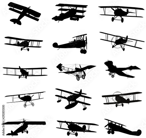 Photo  Vector biplanes silhouettes