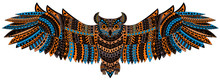 Patterned, Colorful Owl On A W...
