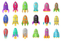 Big Set Of Cute Cartoon Colored Rockets Isolated On White. Vector.