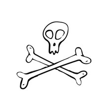 Skull And Crossbones Icon Sign. Hand Drawn Doodle Vector Illustration Isolated On White Background