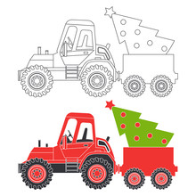 Red Tractor With Christmas Tre...