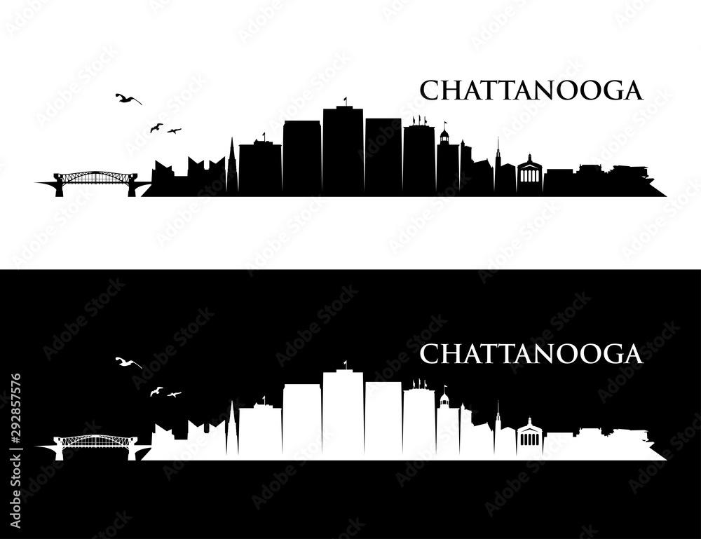 Fototapety, obrazy: Chattanooga skyline - Tennessee, United States of America, USA - vector illustration
