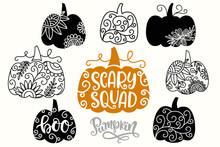 Halloween Thanksgiving Swirly Decorative Pumpkins Silhouettes