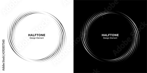 Fototapety, obrazy: Halftone circle dotted frame circularly distributed set. Abstract dots logo emblem design element. Round border Icon using halftone circle dot texture. Half tone circular background pattern. Vector.