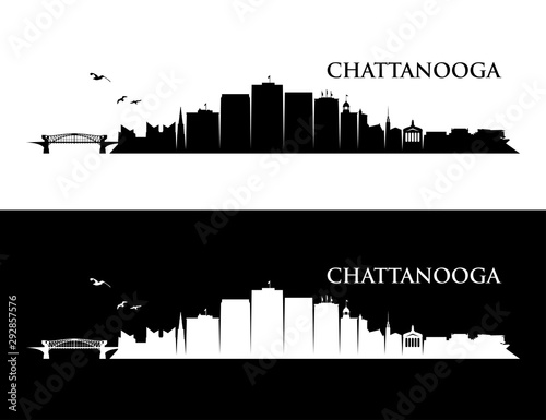 Foto auf AluDibond Schwarz Chattanooga skyline - Tennessee, United States of America, USA - vector illustration