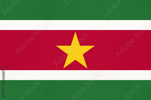 Poster Amérique du Sud Suriname national fabric flag, textile background. Symbol of south america world country.