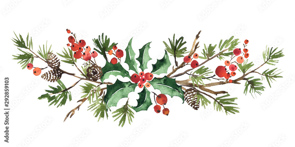 Fototapeta Christmas watercolor floral arrangement of holly leaves, red berries and spruce