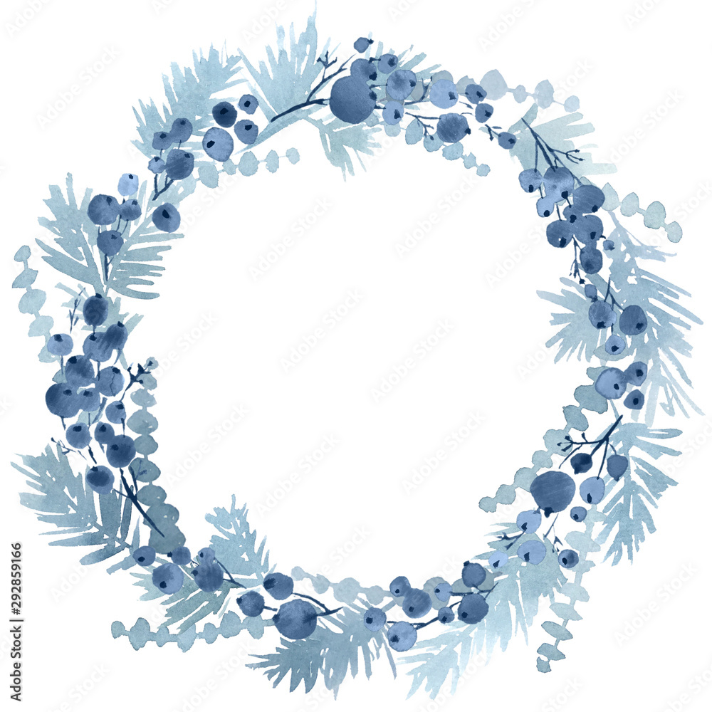 Fototapeta Watercolor Christmas wreath spruce and berries in navy blue color