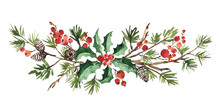 Christmas Watercolor Floral Ar...