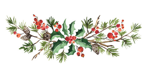 Christmas watercolor floral arrangement of holly leaves, red berries and spruce