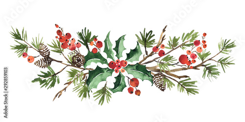 Obraz Christmas watercolor floral arrangement of holly leaves, red berries and spruce - fototapety do salonu