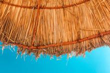 Straw Beach Umbrella With Blue...
