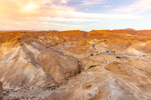 Sunrise Over Ancient Masada Fortress In Israel