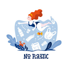 No Plastic! Vector Flat Illustration For World Environment Day. A Woman Swims In Sea With Garbage - In Water Are Plastic Bag, Glass, Straw, Bottle, Canisters. Harm To Nature. Design For Banner, Poster