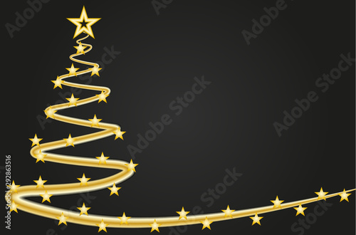 Fototapeta  Felicitación de navidad con pino dorado y estrellas.
