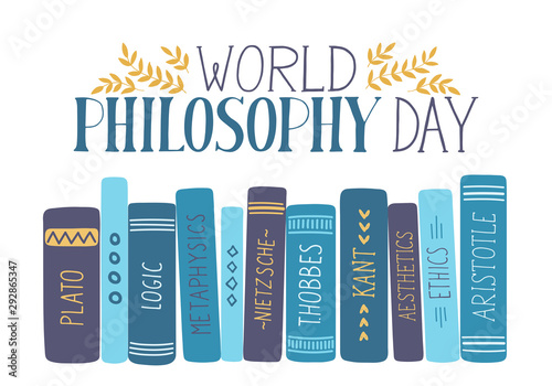 Obraz World Philosophy Day. Hand drawn philosophy books with lettering on white background.  - fototapety do salonu