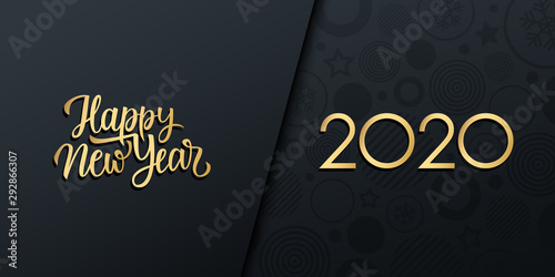Fototapeta 2020 New Year luxury holiday banner with gold handwritten inscription Happy New Year. Vector illustration. obraz na płótnie