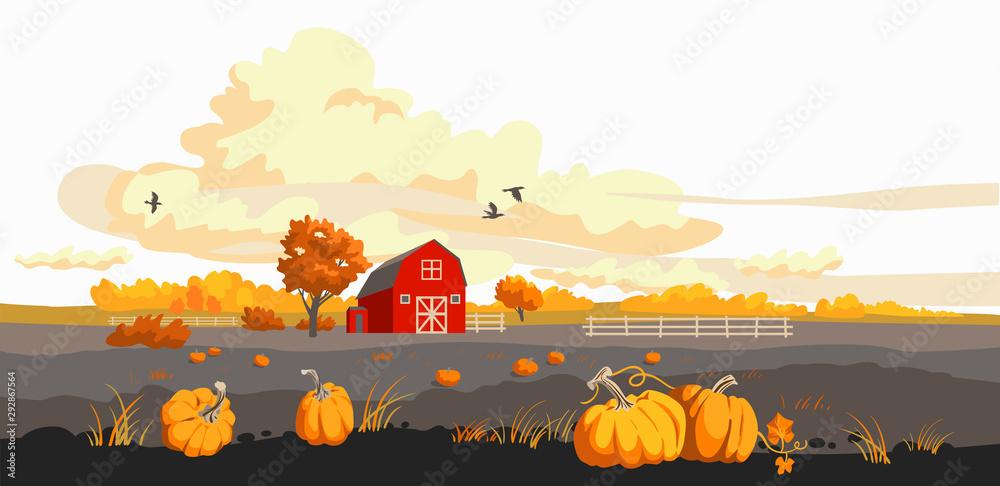 Fototapety, obrazy: Red barn on a fild autumn illustration