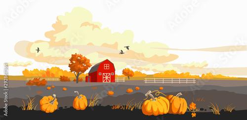 Photo  Red barn on a fild autumn illustration