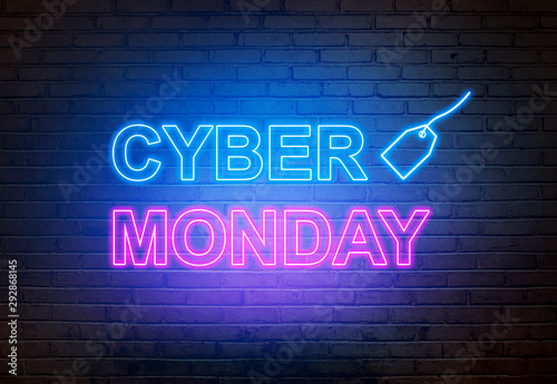 Pinturas sobre lienzo  Cyber Monday text from an electric lamp on the wall