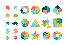 Puzzle Collection. Business Different Jigsaw Round And Square Geometrical Forms Tags Puzzle Pieces Vectors. Piece Jigsaw Icon, Round And Square Shape Illustration