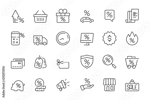 Fototapeta Discount icon. Market product sale leasing interest rates vector collection. Discount sale and rate interest, percentage off illustration obraz