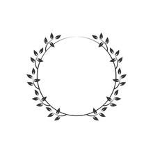 Vintage Floral Round Frames. Black Decorative Ivy Wreath. Vector Illustration