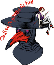 Plague Doctor And Burlesque Dancer. Suitable For Posters, Cards, Tattoo. Vector Illustration. Engraving Style