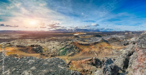 Obraz Frozen lavas field in the geothermal valley Leirhnjukur, near Krafla volcano. - fototapety do salonu