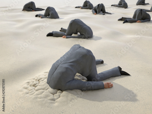 Fotografía group of businessmen hides their heads in the sand