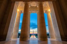 Sunrise View At Lincoln Memorial In Washington DC, USA