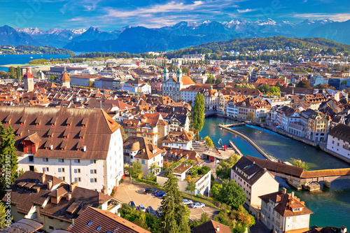 Obraz na plátně  City of Luzern riverfront and rooftops aerial viewcccccccccccccccccccc