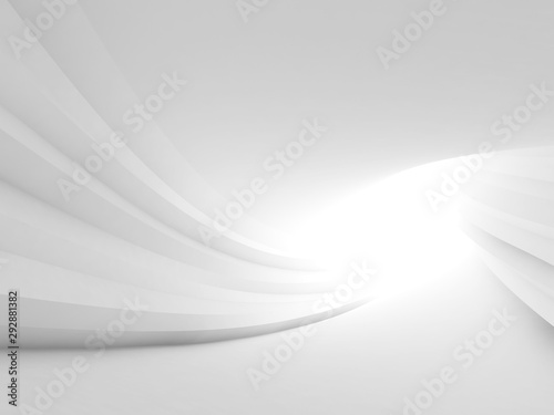 Twisted abstract white tunnel interior - 292881382