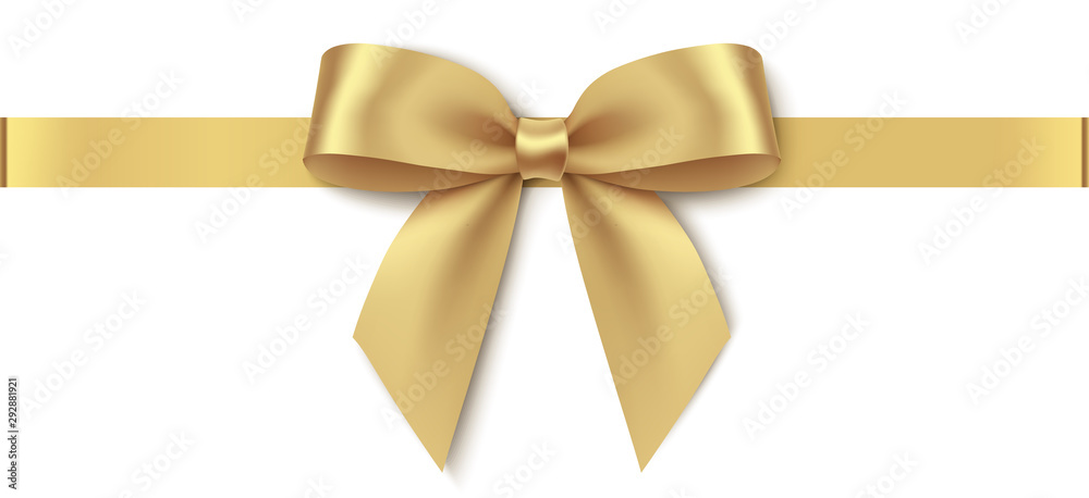 Fototapeta Decorative golden bow with horizontal ribbon isolated on white background. Vector illustration