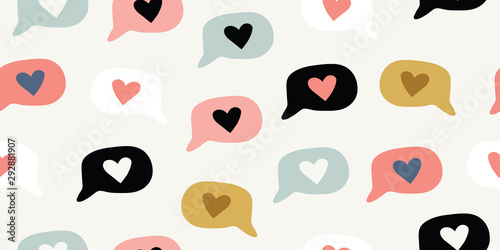 Seamless pattern with doodle love heart emoji