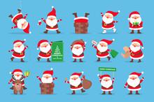 Set Of Funny Santa Claus Celeb...