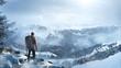 Wanderer in winterlicher Landschaft