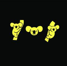 Simple Koala Logo Icon Designs Vector