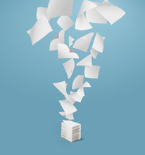 Flying Paper And Stack Of Pape...