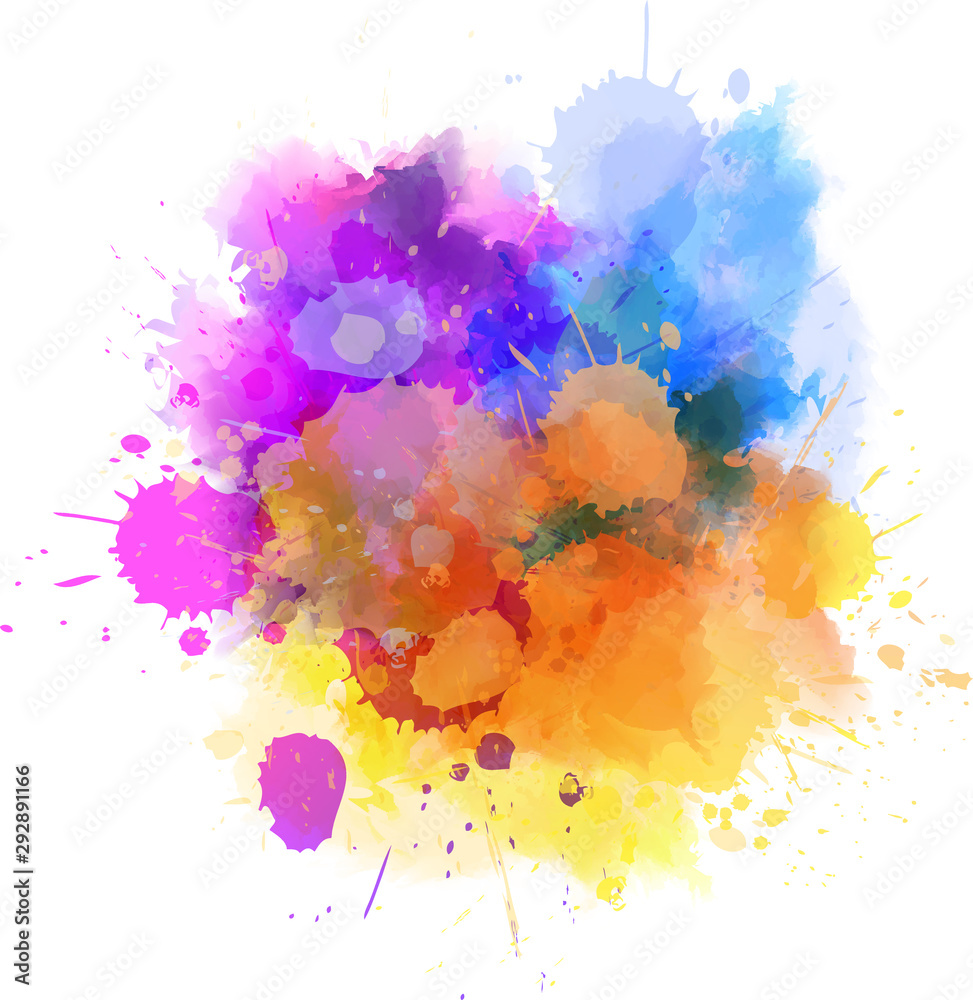 Fototapeta Multicolored splash watercolor blot