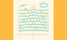 Original And Creative Christmas Card, Inspired By Marine Life And Summer. Christmas Tree Made Up Of Waves. Square Format. Vector Illustration.