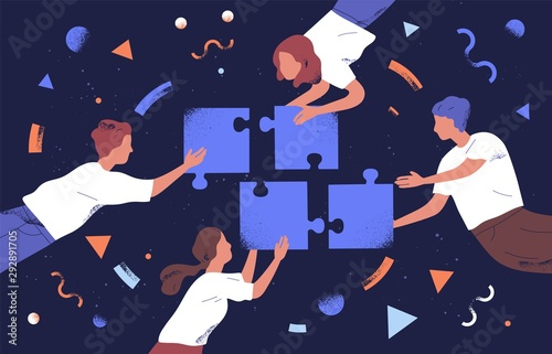 Door stickers Height scale Teamwork and team building flat vector illustration. Coworkers assembling jigsaw puzzle cartoon characters. Coworking and business partnership concept. Businessmen and businesswomen cooperation.