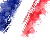 Abstract Splashes In France Flag Colors.