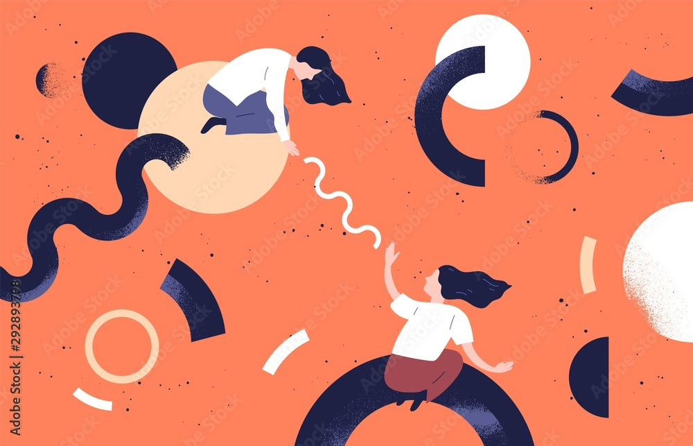 Fototapeta Businesswomen teamwork concept flat vector illustration. Female coworkers cartoon characters and abstract geometrical shapes. Business partnership. Coworking, support and problem solving concept.