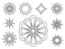 Set Of Nine Spirograph Shapes....