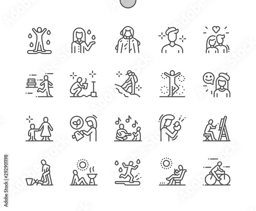 Obraz Spring people Well-crafted Pixel Perfect Vector Thin Line Icons 30 2x Grid for Web Graphics and Apps. Simple Minimal Pictogram - fototapety do salonu