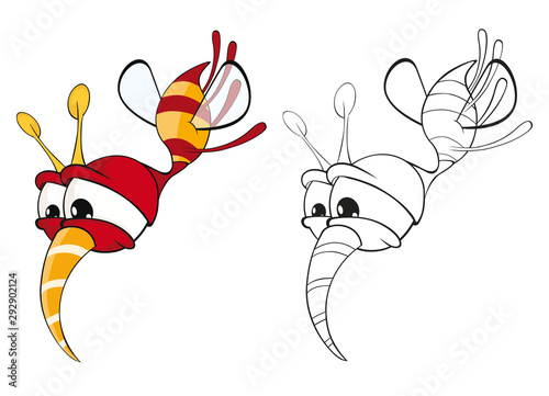 Poster Babykamer Vector Illustration of a Cute Cartoon Character Bee for you Design and Computer Game. Coloring Book Outline Set