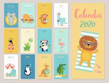 Calendar 2020. Cute Monthly Calendar With Beach Animals.